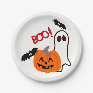 Halloween Ghost with pumpkin 7 Inch Paper Plate