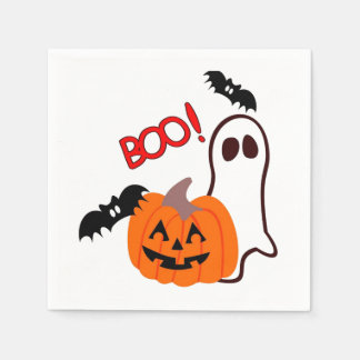 Halloween Ghost with pumpkin Disposable Napkin