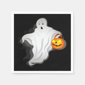 Halloween Ghost with pumpkin Disposable Napkins