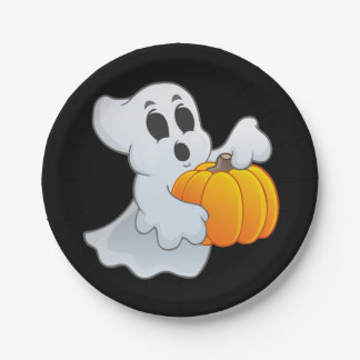 Halloween Ghost with pumpkin Paper Plate