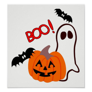 Halloween Ghost with pumpkin Poster