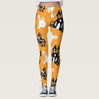 Halloween Ghosts and Haunted House Leggings