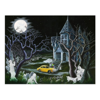 Halloween,ghosts,haunted,house,mansion Postcard