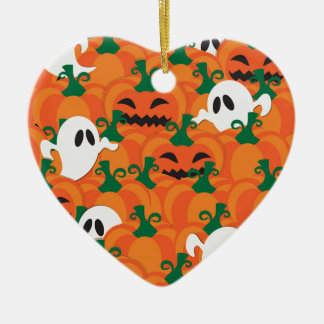 Halloween Ghosts Haunted Pumpkin Patch Ceramic Heart Ornament