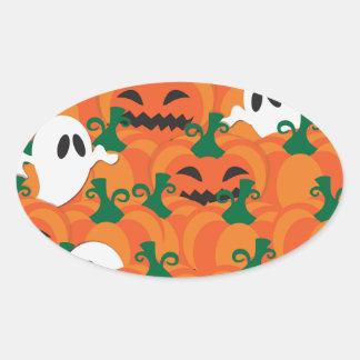 Halloween Ghosts Haunted Pumpkin Patch Oval Sticker