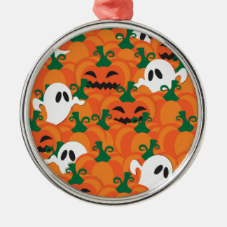 Halloween Ghosts Haunted Pumpkin Patch Silver-Colored Round Ornament