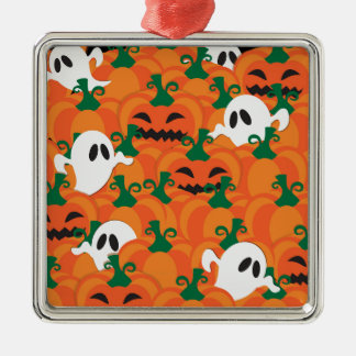 Halloween Ghosts Haunted Pumpkin Patch Silver-Colored Square Ornament