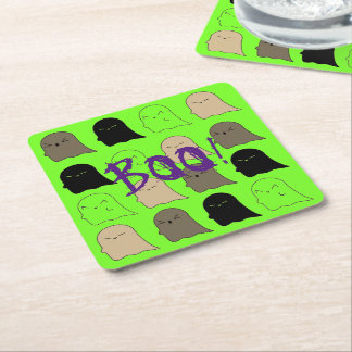 Halloween Ghosts Neon Green Coasters