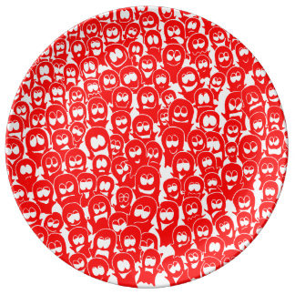 Halloween Ghosts Spirits Red Hand-drawn Doodle Porcelain Plates