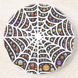 Halloween Ghouls & Goblins in a Spiderweb Drink Coaster