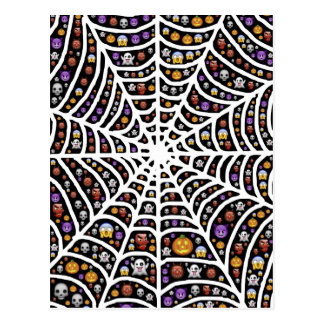 Halloween Ghouls & Goblins in a Spiderweb Postcard