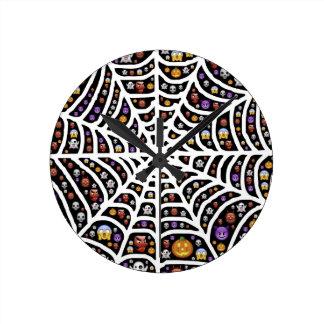 Halloween Ghouls & Goblins in a Spiderweb Wallclocks