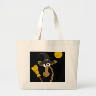 Halloween giraffe witch large tote bag