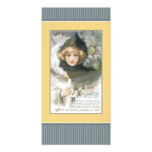 Halloween girl with candle and goblins photo greeting card