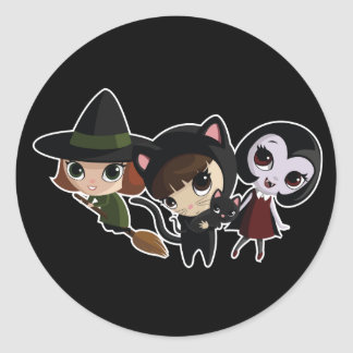 Halloween Girls Classic Round Sticker
