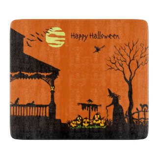Halloween glass cutting board,witch,Jack-O-Lantern Cutting Board