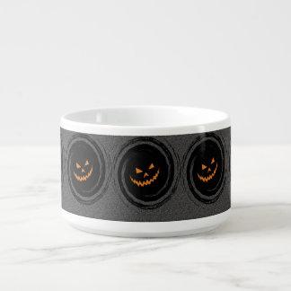 Halloween Glowing Jack O'Lantern in a black swirl Bowl