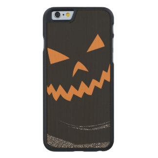 Halloween Glowing Jack O'Lantern in a black swirl Carved Maple iPhone 6 Case