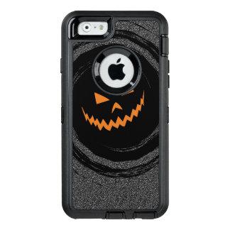 Halloween Glowing Jack O'Lantern in a black swirl OtterBox Defender iPhone Case