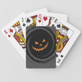 Halloween Glowing Jack O'Lantern in a black swirl Poker Deck
