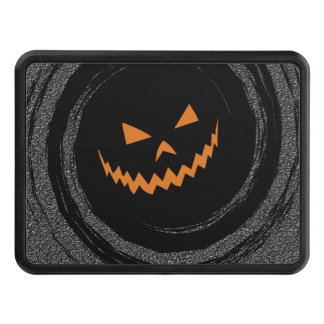 Halloween Glowing Jack O'Lantern in a black swirl Trailer Hitch Cover