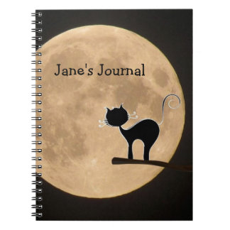 Halloween gothic black cat with full moon notebook