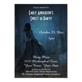 Halloween Gothic Graveyard Costume Sweet 16 Card