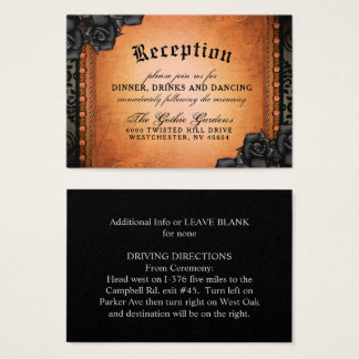 Halloween Gothic Orange Black 3.5 x 2.5 Reception Business Card