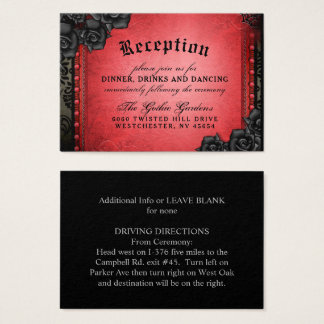 Halloween Gothic Red Black 3.5 x 2.5 Reception Business Card