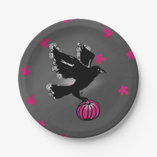 Halloween gothic witch with ravens and pumpkin paper plate