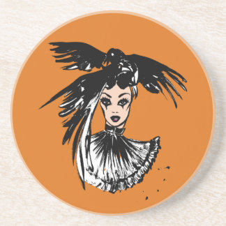 Halloween gothic witch with ravens coaster