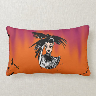 Halloween gothic witch with ravens lumbar pillow