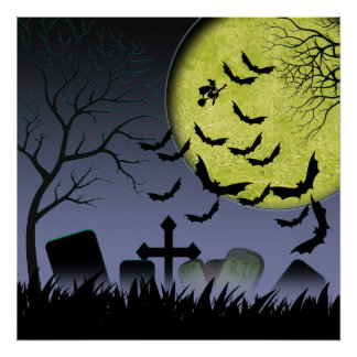 Halloween Grave yard Poster