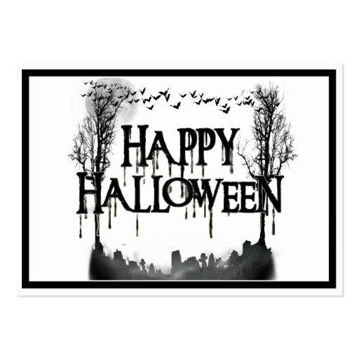 Halloween Graveyard Scene Silhouette Business Card Template