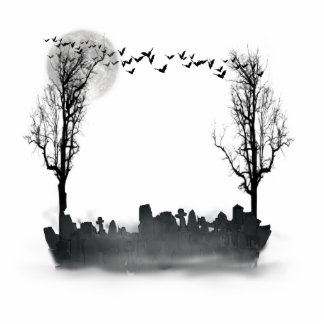 Halloween Graveyard Scene Silhouette Cut Out