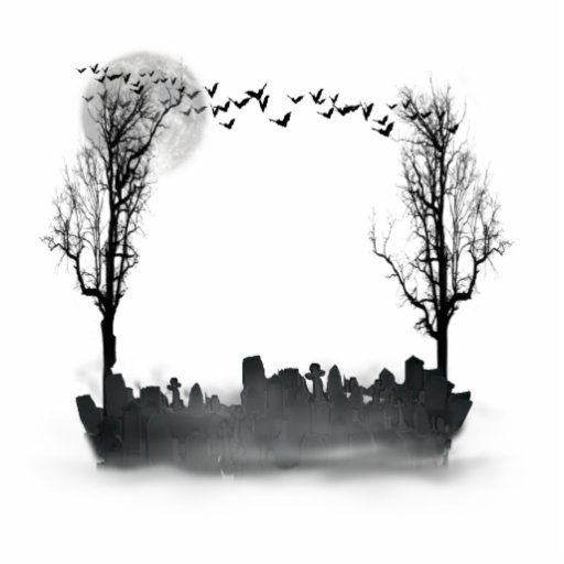 Halloween Graveyard Scene Silhouette Cut Out