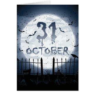 Halloween graveyard scenes 31 october card