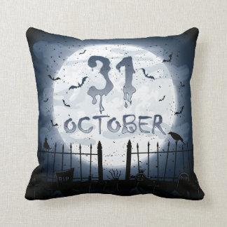 Halloween graveyard scenes 31 october throw pillow