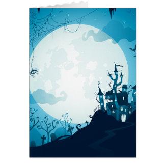 Halloween graveyard scenes haunted ghost house card