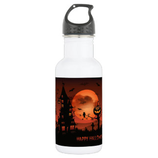 Halloween graveyard scenes pumpkin bats moon