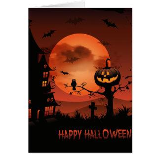 Halloween graveyard scenes pumpkin bats moon card