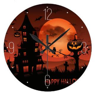 Halloween graveyard scenes pumpkin bats moon large clock