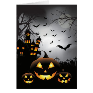 Halloween graveyard scenes pumpkin haunted house card
