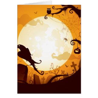 Halloween graveyard scenes, raven, pumpkin, spider card
