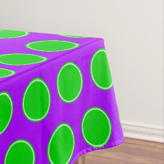 Halloween Green and White Dots on Purple Tablecloth