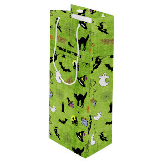 Halloween Green Collage Pattern - Trick or Treat Wine Gift Bag