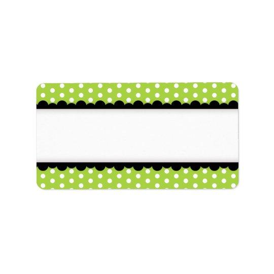 Halloween green polka dots black scalloped border label