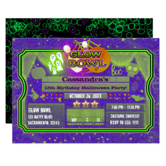 Halloween Green & Purple GLOW BOWL Birthday Party Card
