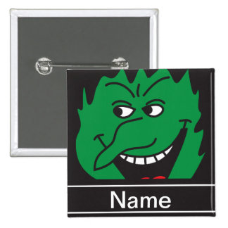 Halloween Green Witch Face Personalize 2 Inch Square Button