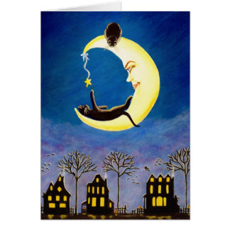 Halloween,greeting,card,black,cat,witch,moon Card